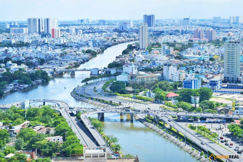 View cầu Nguyễn Văn Cừ chung cư The Gold View quận 4